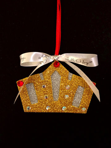 Ruby and Gold Crown Christmas Ornament