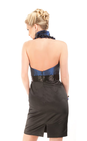 HC1014 Midnight Black Taffeta Halter Cocktail Dress