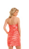 Strapless Coral Pleated Cocktail Dress