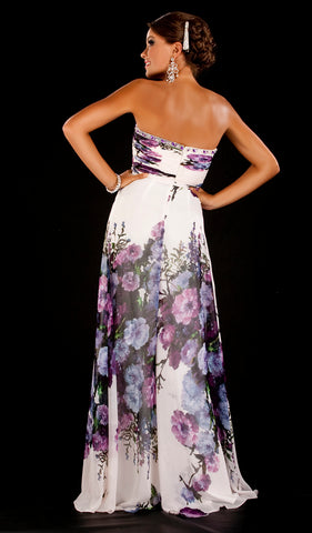 HC1026 Floral Strapless Frenchy Prom Gown