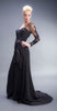 HFH1006 Heather French Henry Illusion Long Sleeve Black Gown