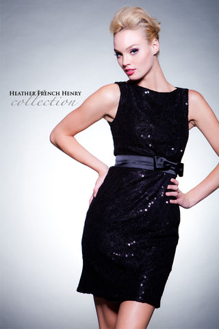 HFH1971 Black Sequin/ Black Lace Cocktail Dress