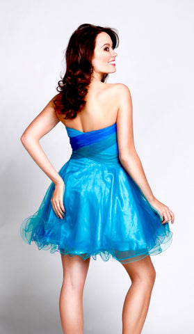 Frenchy Prom Short Blue Fit and Flare Dress