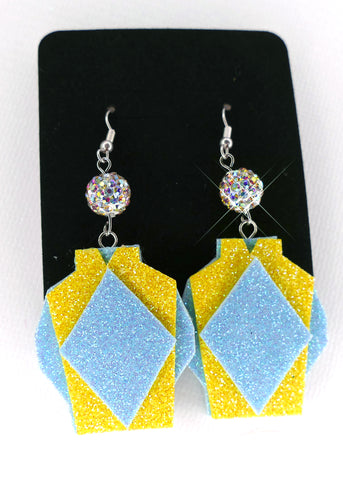 Jockey Silk Earrings - Yellow/Blue