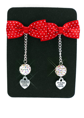 Polka Dot Bow Tie Made With Love Earrings