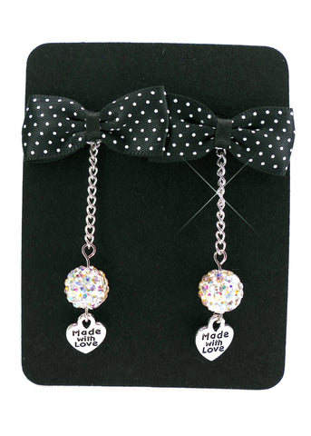Black & White Bow Tie Earrings