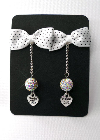 White Polka Dot Bow Tie Earrings