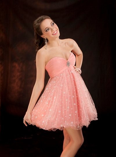 Black Strapless Short Babydoll Frenchy Prom Dress