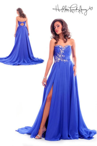 HP1024 Purple Silk Chiffon Pageant Gown