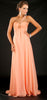 Coral Dream Grecian Chiffon Gown