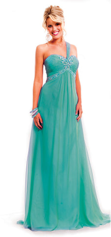 Persian Green Grecian Goddess Chiffon Gown