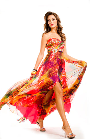 HOT CORAL BUTTERFLY PRINT CHIFFON GOWN BY FRENCHY PROM