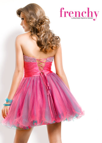 Frenchy Prom Corset Fit and Flare Strapless Party Dress