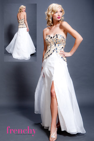 HPM 1220 Frenchy Prom Strapless Beaded Sample in Nude and White Chiffon