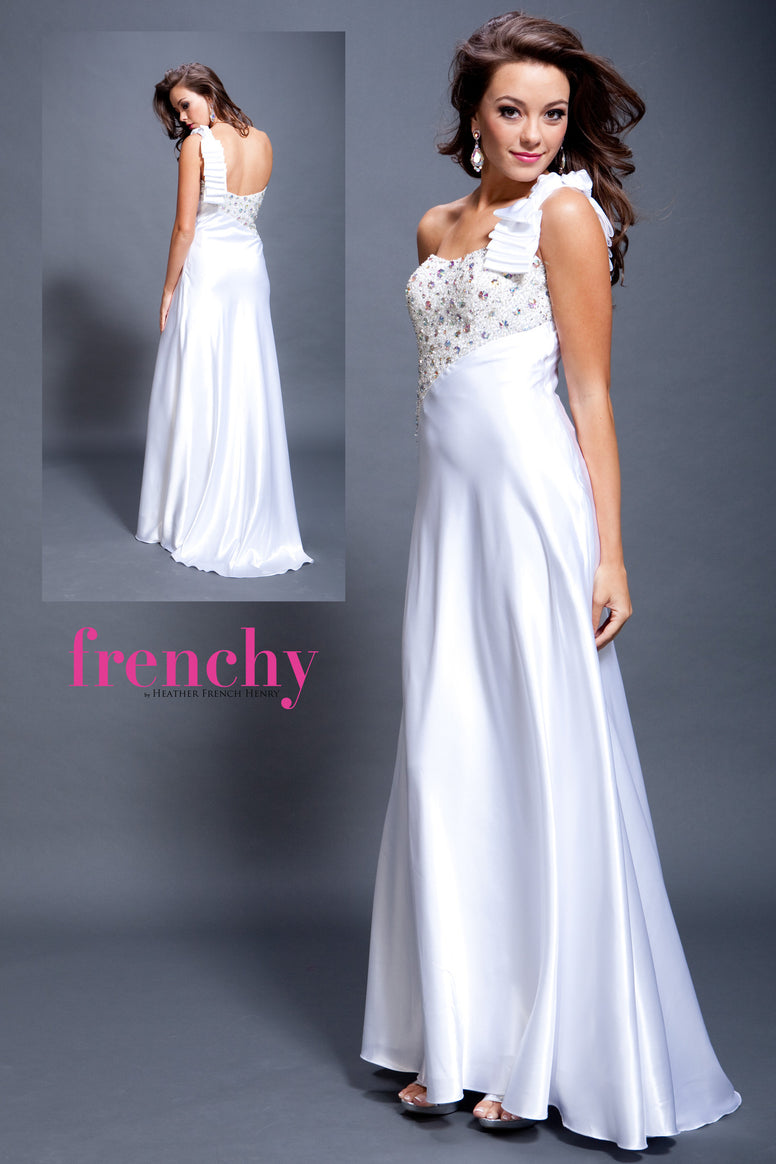 HPM 1970 One Shoulder Frenchy Prom Dress Sample in Snow White