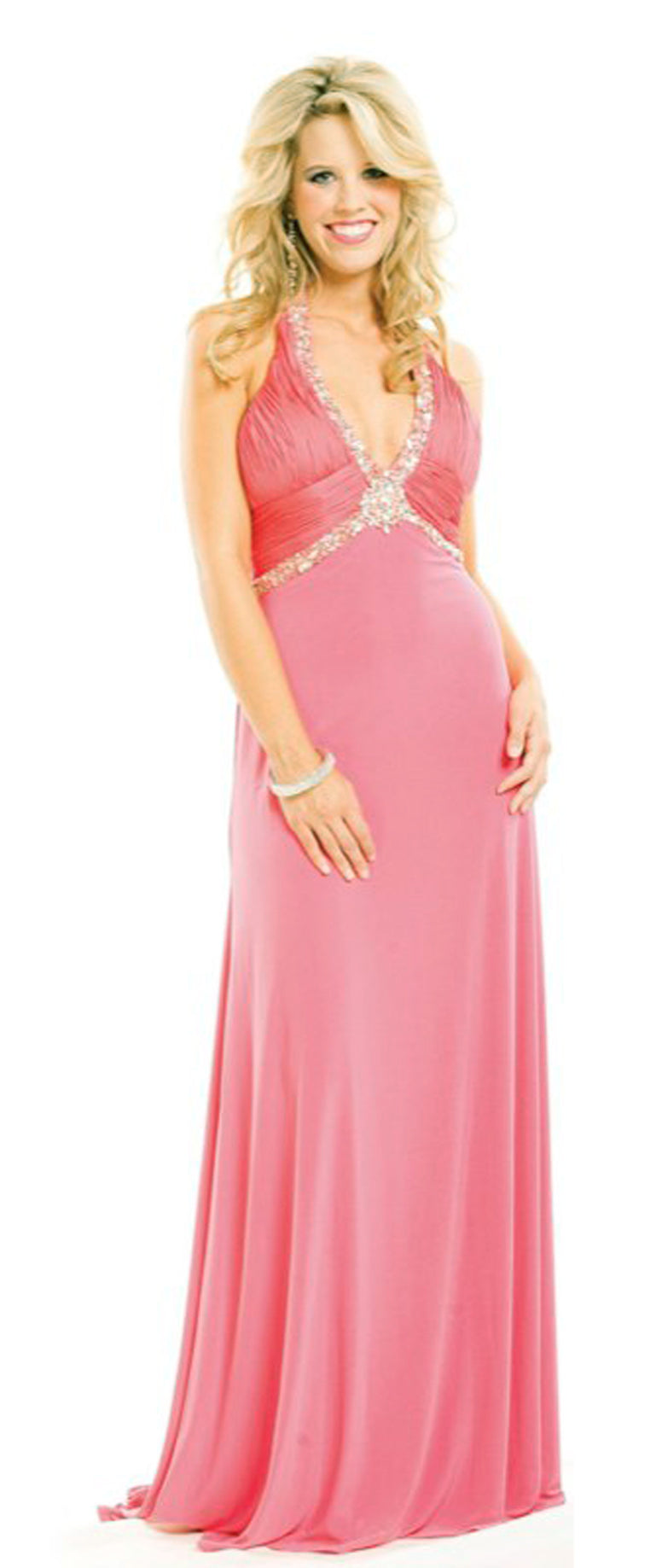 Coral Halter Jersey Gown SAMPLE