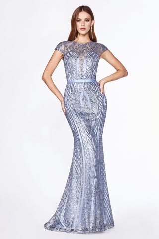 Fitted lattice print glitter gown with cap sleeves and closed back.