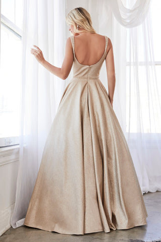 Beautiful Champagne Glitter Finish Ball Gown Beaded Belt and Pockets.