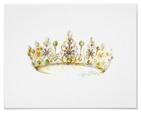 Original Jade Pearl Crown Watercolor by Heather French Henry
