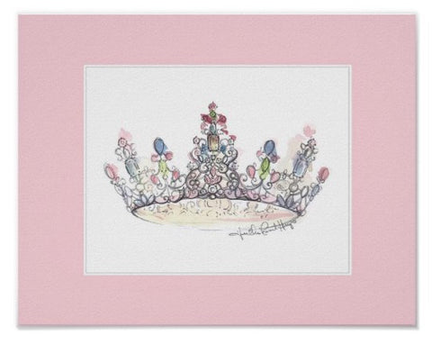 Pink Border Crown Print by Heather French Henry