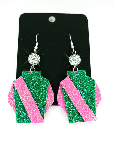 Jockey Silk Earrings - Green/Pink