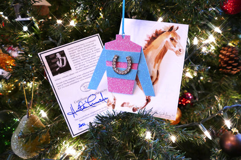 Breast Cancer Jockey Silks Hanging Ornament