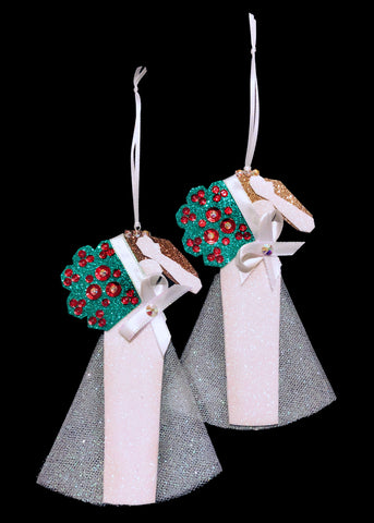 Evening Gown Pageant Christmas Ornaments in two Skin Tones holding a bouquet of roses.