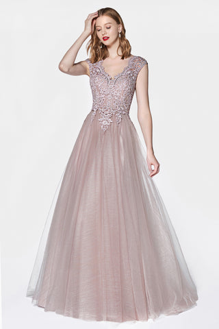 Mauve Flowy A-line tulle gown with cap sleeve and lace bodice.