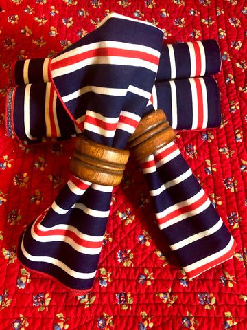 Set of 4 Partiotic Red, White & Blue Stripe Vintage Cloth Napkins