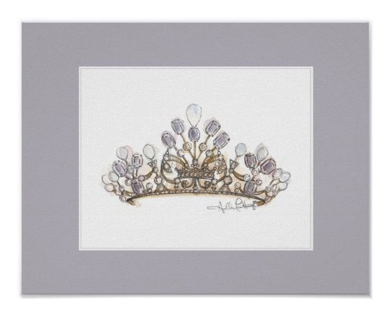 Amethyst Pearl Crown Print with Lavender Border by Heather French Henry - FREE SHIPPING