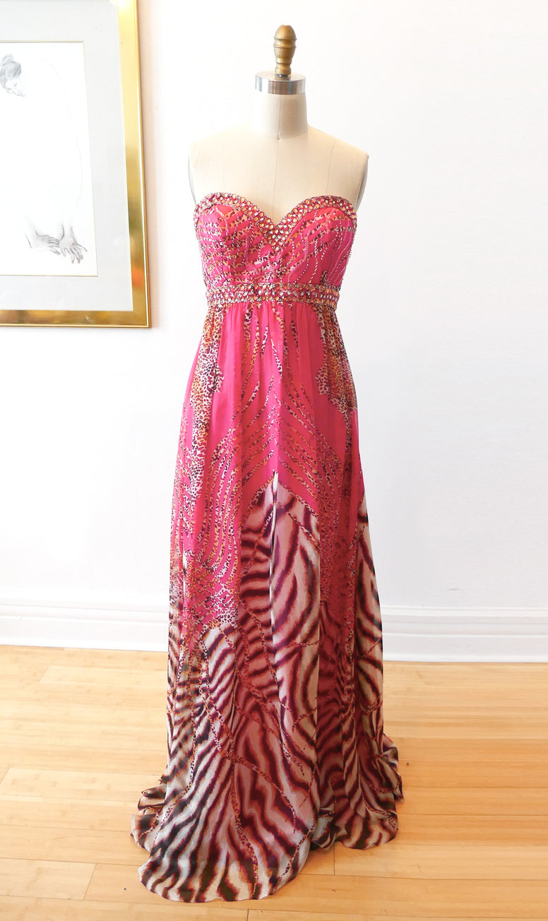 Coral Silk Animal Print Strapless Gown