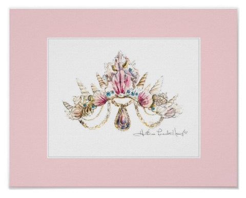 Sea Princess Crown Print with Pink Border by Heather French Henry - FREE SHIPPING