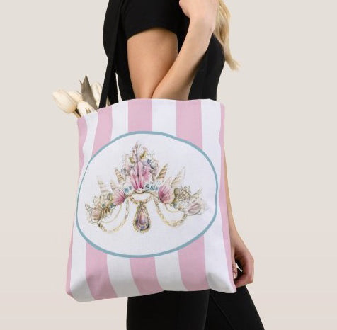 Sea Princess Crown Print Tote