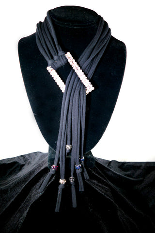 Black Rhinestone T-Necklace
