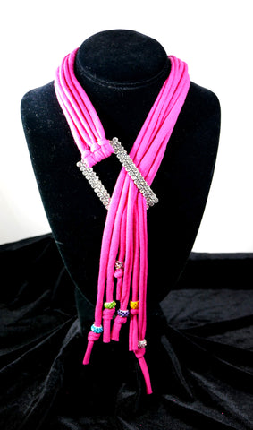 Hot Pink Rhinestone T-Necklace
