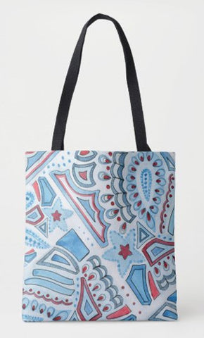 Red Blue Patriotis Paisley Tote