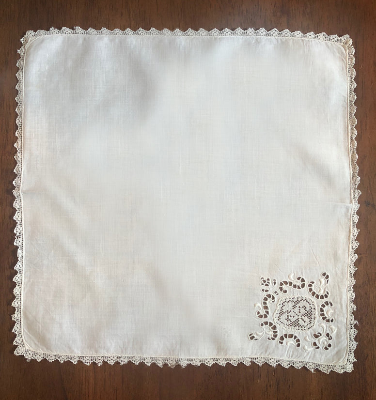 Antique Linen & Lace Handkerchief