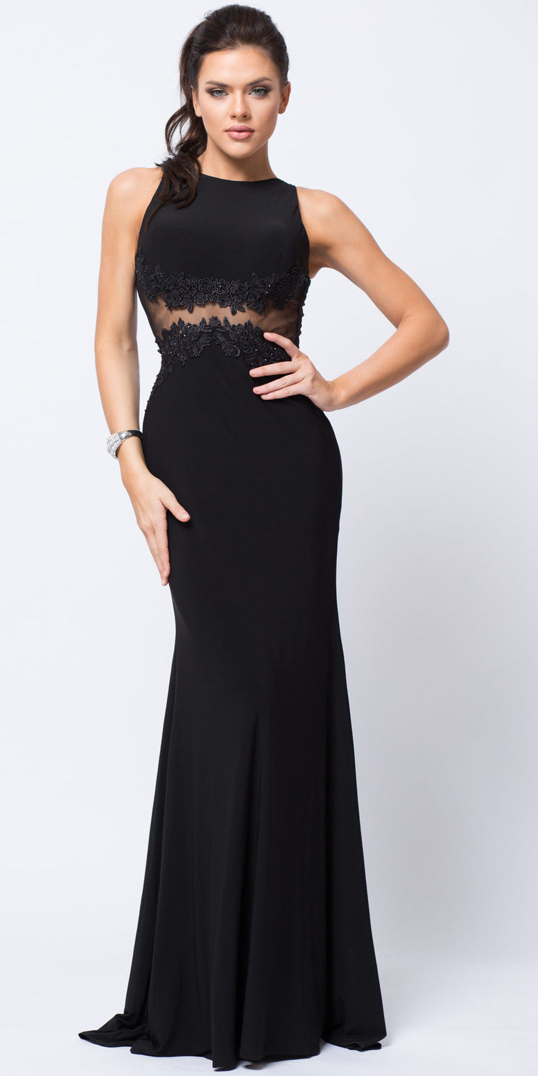 Sleeveless Lace Motif Fitted Jersey Long Formal Gown