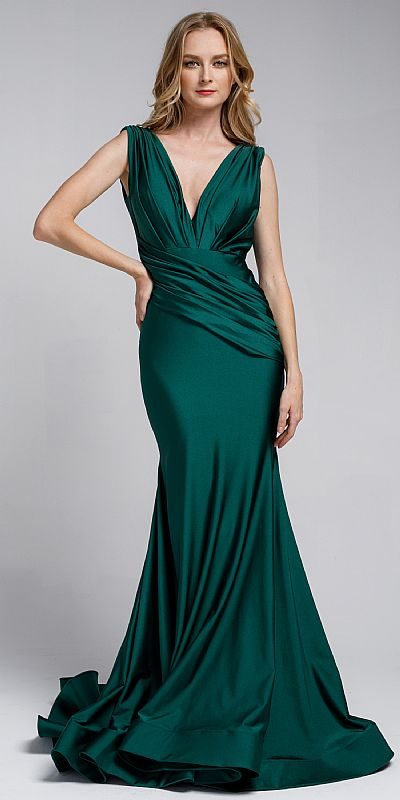 SATIN FITTED V NECK DRESS