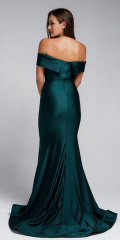 OFF SHOULDER FITTED SATIN GOWN