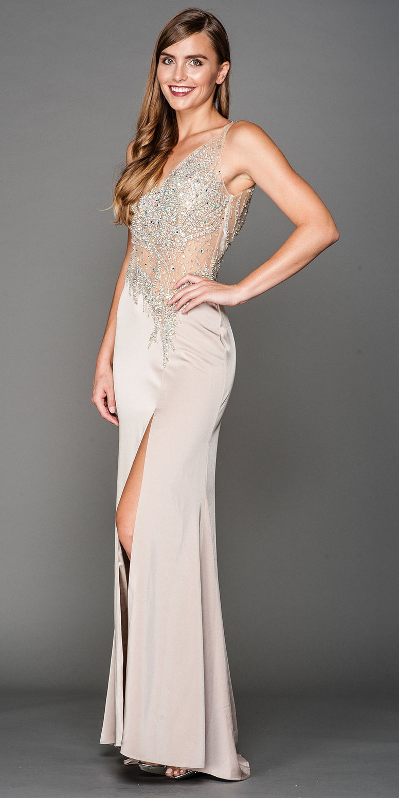 V-NECK MESH BEJEWELED BODICE LONG PROM PAGEANT DRESS