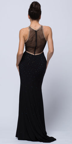 BEJEWELED SHEER BACK RHINESTONES LONG PROM PAGEANT DRESS