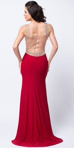 V-NECK EMBELLISHED BODICE SHEER BACK LONG PROM DRESS