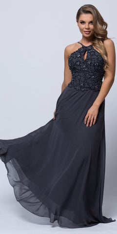 BEADED HALTER TOP SPAGHETTI STRAPS LONG FORMAL GOWN