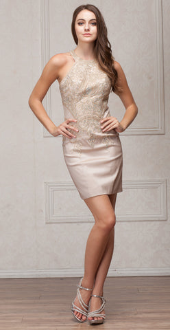 ROUND BAND NECK EMBELLISHED BODICE FITTED SHORT PARTY DRESS