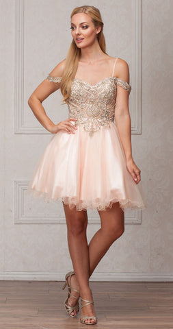 COLD-SHOULDER BEADED TULLE SHORT PROM DRESS