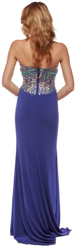 SWEETHEART NECK RHINESTONES BODICE LONG PROM PAGEANT DRESS