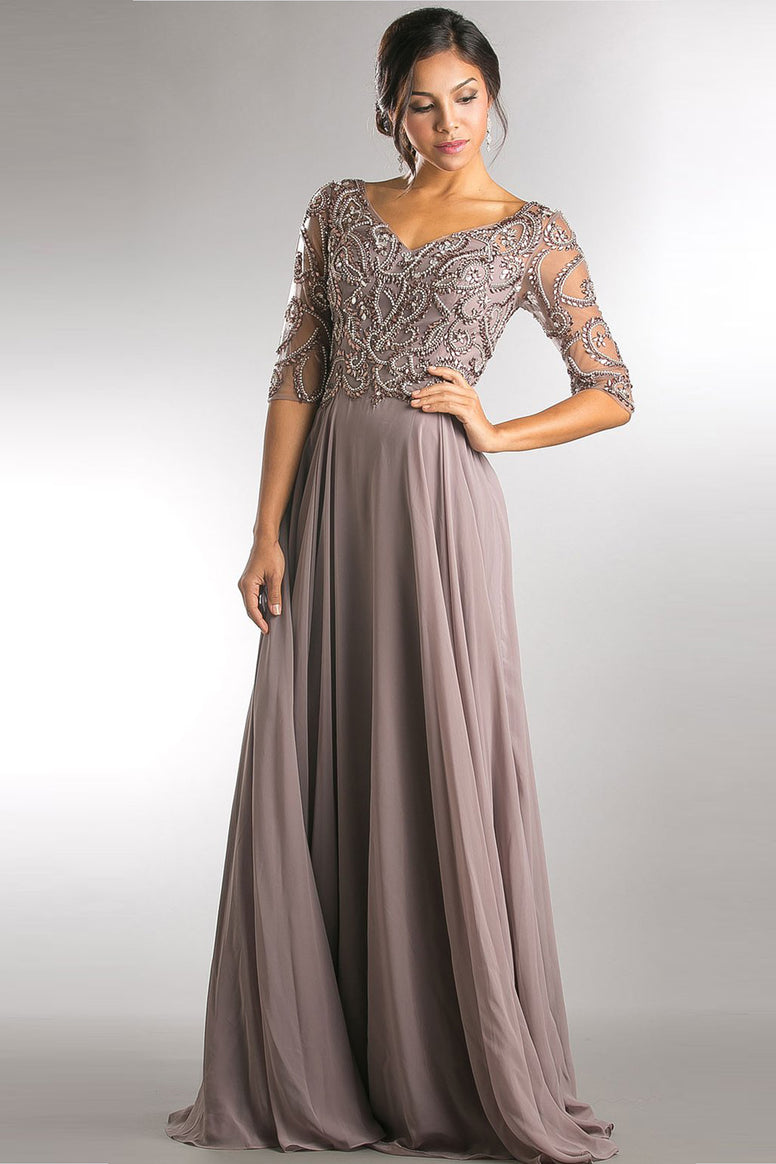 V-NECK BEADED TOP HALF SLEEVES LONG MOTHER OF BRIDE DRESS