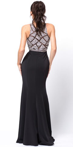 SLEEVELESS BEADED TOP HIGH NECK LONG PROM DRESS