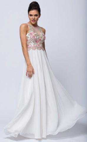 SLEEVELESS FLORAL ACCENT BEADED TOP LONG PROM DRESS